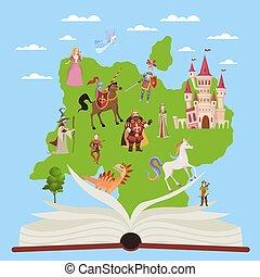 이야기, 공상, fairytale, 교육적인, book., 상상, 벡터, 책, 삽화, 특성, 아이, 이야기, 독서