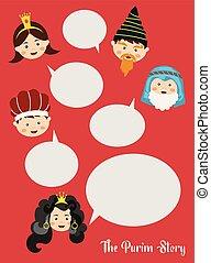 이야기, 유태인, purim., 삽화, 전통적인, characters., holiday., purim, 행복하다