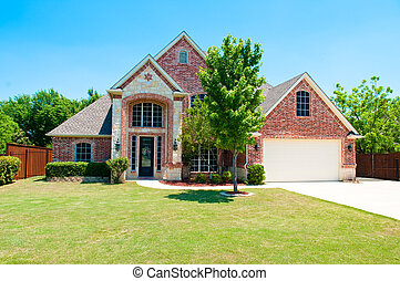 이야기, 2, 차고, 가정, 벽돌, front.
