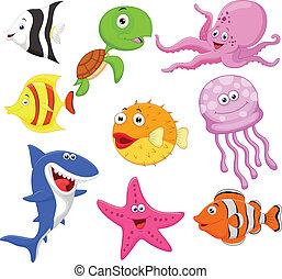 인생, 바다, 귀여운, 수집, 만화