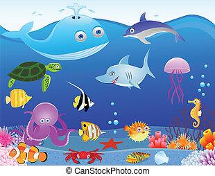 인생, 바다, 만화, 배경