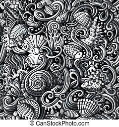 인생, 패턴, seamless, 물, 억압되어, doodles, 만화