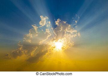 일몰, 태양 광선