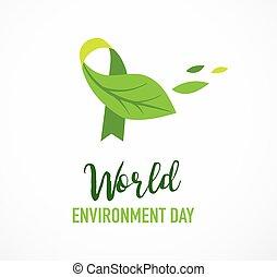 일, 녹색, 세계, 환경, 개념, design., 가다, 벡터, 삽화