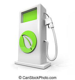 잎, -, 가스 펌프, 녹색, 연료, 대안