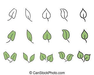 잎, 세트, 아이콘