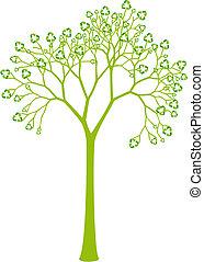 잎, 재활용, 나무, 표시