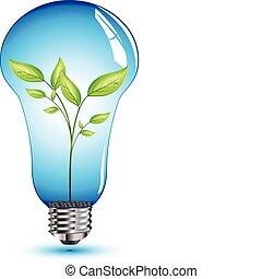 잎, 제자리표, 내부, 전구, 빛