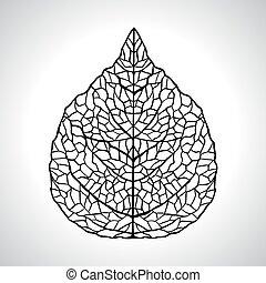 잎, isolated., 모듬 명령, 삽화, 벡터, 검정, 제자리표