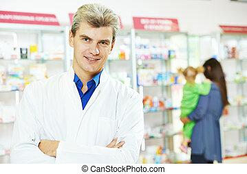자부하는, 남자, 약국, 화학자, 조제법