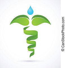 자연, 내과의, -, 녹색, 헤르메스의 지팡이, 의학, 대안, 상징