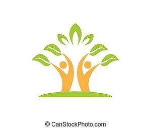 자연, 사람, 벡터, 건강, 본뜨는 공구, 로고