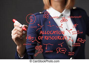 자원, 소녀, 사업, 표를 붙이는 사람, strategy., allocation, 발달, marketing., 빨강, 쓴다, 개념