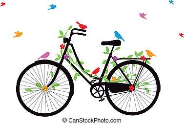 자전거, 늙은, 벡터, 새