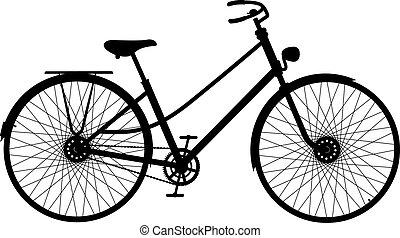 자전거, 실루엣, retro