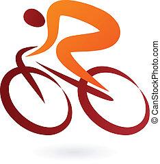 자전거 타는 사람, 벡터, -, 삽화, 아이콘