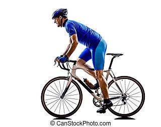 자전거 타는 사람, 실루엣, 자전거, 길, 순환