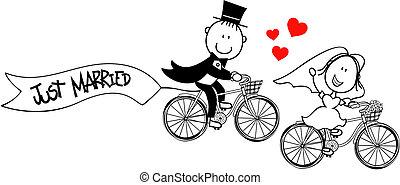 자전거, 혼자서 젓는 길쭉한 보트, 신랑, 신부
