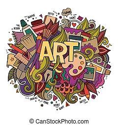 자체, 예술, doodles, elements., 손