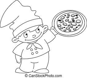 작다, 요리사, 개설되는, 피자