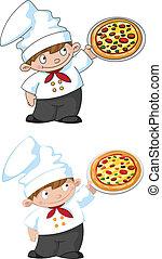 작다, 요리사, 피자