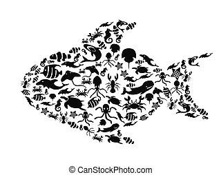 작다, 인생, fish, 바다, 채우는