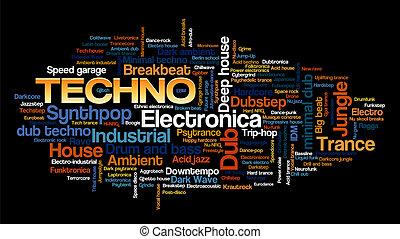 작풍, 낱말, 전자의, 나무, 꼬리표, 음악, techno, 거품, 구름