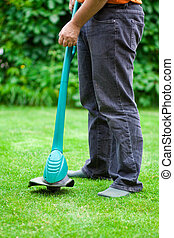 잔디밭 채초, 풀, 남자, 손질하는 사람