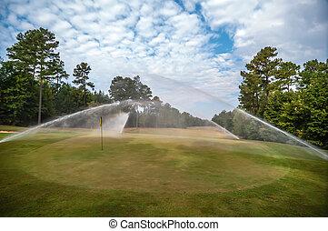 잔디, 골프, 해수욕장의, 과정, 녹색 잔디