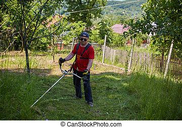 잔디, 그의 것, 깎고 있는 사람