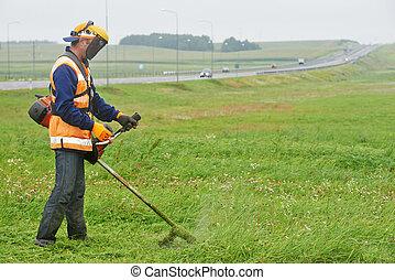 잔디, 노동자, 잔디 깎는 사람