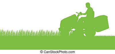 잔디, 떼어내다, 삽화, 잔디 깎는 사람, 들판, 절단, 트랙터, 배경, 풀, 조경술을 써서 녹화하다, 남자