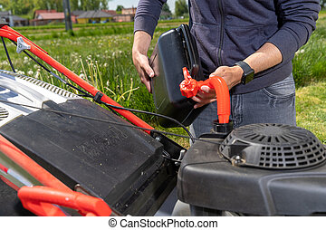 잔디, 연료를 공급하는 것, 잔디 깎는 사람, 모터