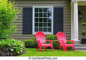 잔디, 정면, 옥외, 야드, 의자, 빨강