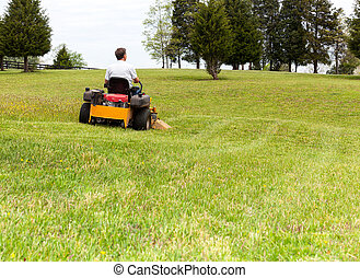 잔디 풀 베는 기계, 회전, 영, 잔디, 상급생