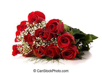 장미, 백색, boquet, 또는, 빨강