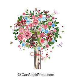 장식적이다, 꽃, 나무, 새