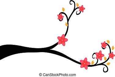 장식적이다, 나무, 실루엣, 가지