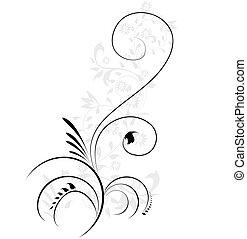 장식적이다, 삽화, 꽃의, flourishes, 소용돌이치는, 벡터, 요소