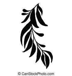 장식적이다, 잎, 실루엣, 가지