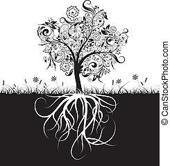 장식적이다, 풀, 뿌리, 벡터, 나무