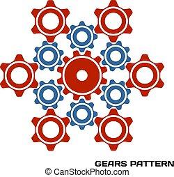 장치, cogwheel, pattern., 기계, 벡터, illustration.