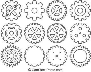 장치, cogwheel, set), 수집, 기계, 벡터, (wheel