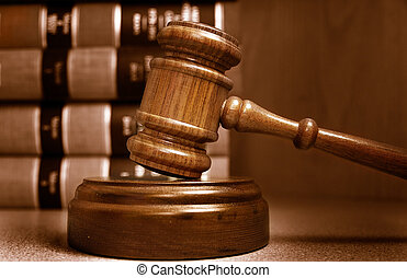 재판관, 겹쳐 쌓이는, 남아서, 책, 작은 망치, 법