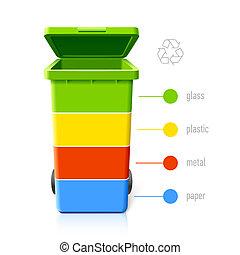 재활용, 색, infographic, 큰 상자