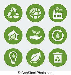 재활용, 세트, 생태학, 벡터, 아이콘