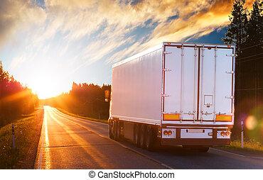 저녁, 트럭, 길, 아스팔트
