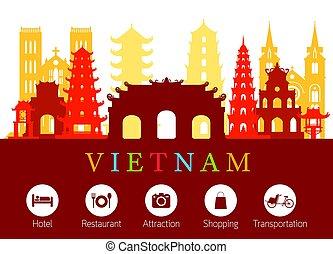 적응, 경계표, 베트남, 지평선, 아이콘