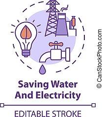 전기, 물, 저금, 아이콘, 개념