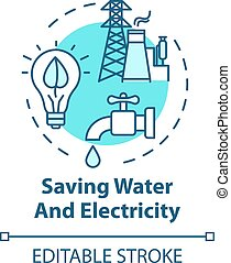 전기, 저금, 개념, 아이콘, 물
